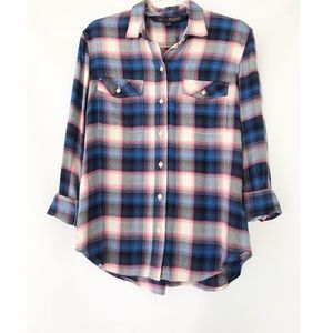 Gap + Pendleton Blue Pink Boyfriend Plaid Shirt